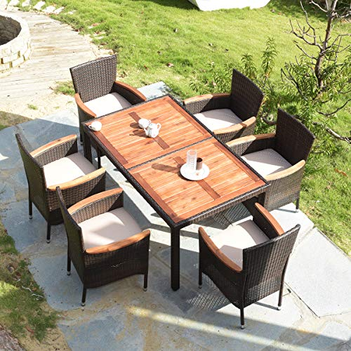 Tangkula 7 PCS Outdoor Patio Dining Set, Garden Dining Set w/Acacia Wood Table Top, Stackable Chairs with Soft Cushion, Poly Wicker Dining Table and Chairs Set (Brown)