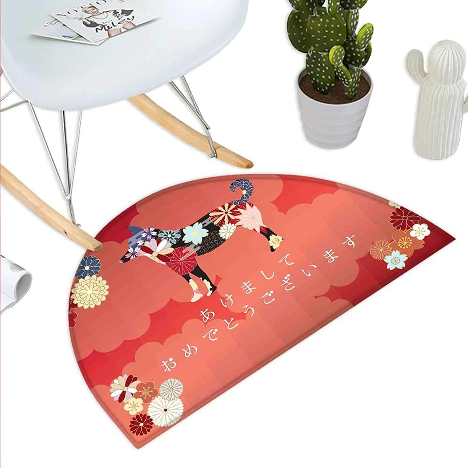 Year of The Dog Semicircle Doormat Japanese Flourishing Petals with Canine Silhouette on Cloudy Background Halfmoon doormats H 39.3  xD 59  Multicolor