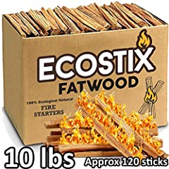 🔥 Branded - Eco-Stix is the best resin rich Ocoee Pine all natural Fatwood kindling used for fire starting. Our fumigated Fatwood contains no petrochemical additives, no Methyl Bromide fumigation, it's a 100% pure, natural & sustainable fire starter....