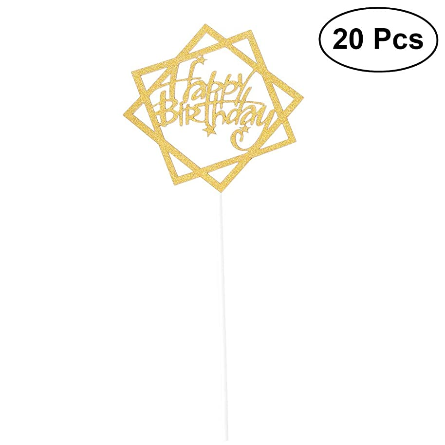 20 Pcs Glitter Paper Cake Insertion Card Cake Cupcake Toppers Decoration Birthday Wedding Halloween Party Favors Supplies With Paper Stick and Dispensing Glue-SR010(Gold)