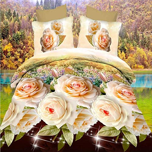 SUNHAON 3d Floral Down Double Bedding Duvet Set, Flower Double Duvet Cover Sets, Double-sided Printed Floral Bedding Single set(145×200cm) C