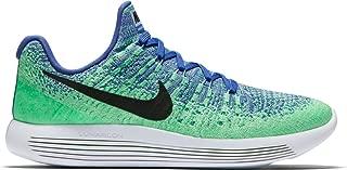 Womens Nike LunarEpic Low Flyknit 2 Running Shoe MEDIUM BLUE/BLACK-ALUMINUM-ELECTRO GREEN 9.5