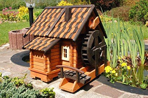 Deko-Shop-Hannusch Grand moulin à eau décoratif en bois style maison en rondins Tuiles en bois