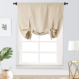 Rose Home Fashion Tie Up Curtain Blackout Curtain Innovated Tie Up Shade Thermal Insulated Rod Pocket Curtain for Windows(42 Inch Wide by 63 Inch Long Panel-Beige)