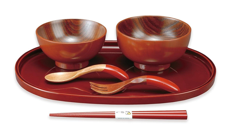 下線くま大胆紀州のぬりもの うるし 椀 お子様 セット 朱 22-95-8A 漆 箸 スプーン 盆 皿 食器 日本製 木製 漆器 塗料