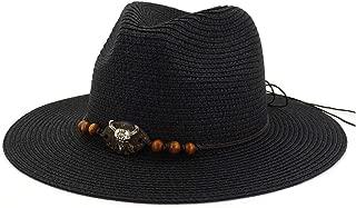 LiWen Zheng Summer Unisex Large Brim Jazz Paper Straw Sun Hats Cow Head Decoration Men Women Beach Sunhat Travel Sunshade Cap Topee