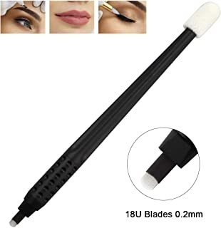 10pcs Disposable Microblading Manual Pen with Needle and Cap Permanent Makeup 18 U Blades 0.2MM,disposable blister package