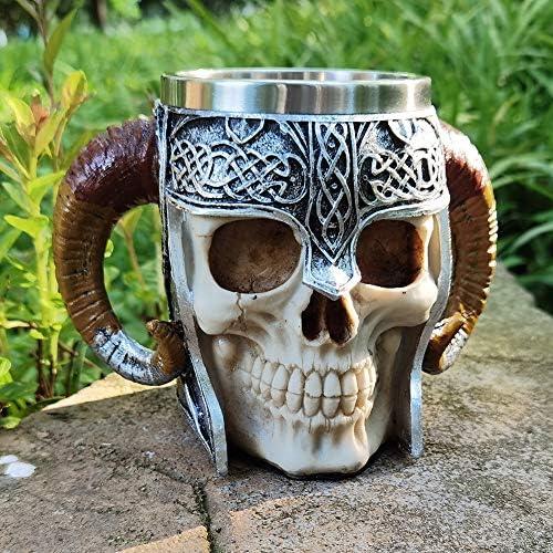 Touker Medieval Skull Mug Stainless Steel Viking Drinking Mug with Double Ram Horn Medieval product image