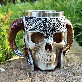 Touker Medieval Skull Mug Stainless Steel Viking Drinking Mug with Double Ram Horn Medieval Viking Pirate Warrior Mug Tankard Steins for Coffee Beer Wine Juice Beverage - 550ml  18 Oz
