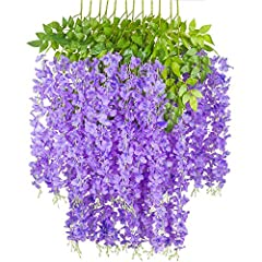 INCLUDING: 12 x Artificial Flowers Vines, purple petal, yellowish pistil. MATERIAL: Silk petals, natural and soft, Leaf venation, application of high temperature welding connection technology, bonding firm, not easy to fall off. UPGRADE: Leaf connect...