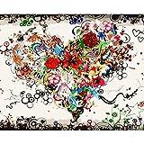 Xpboao Pintar por números - Flor en Forma de Corazon - Pintura de Arte Moderno - Kit de Pintura de Bricolaje Adecuado para Adultos y Principiantes - 40x50cm - Sin Marco