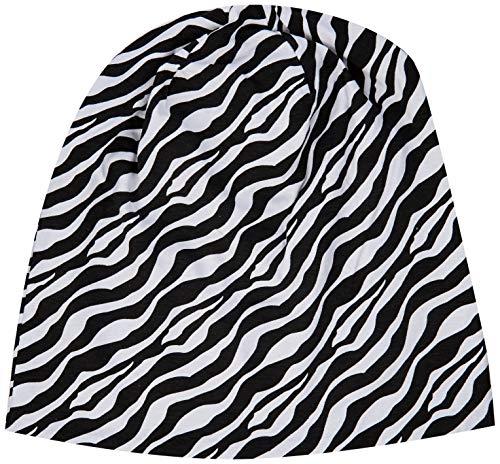 MSTRDS Printed Jersey Beanie, Zebra/Black, one size
