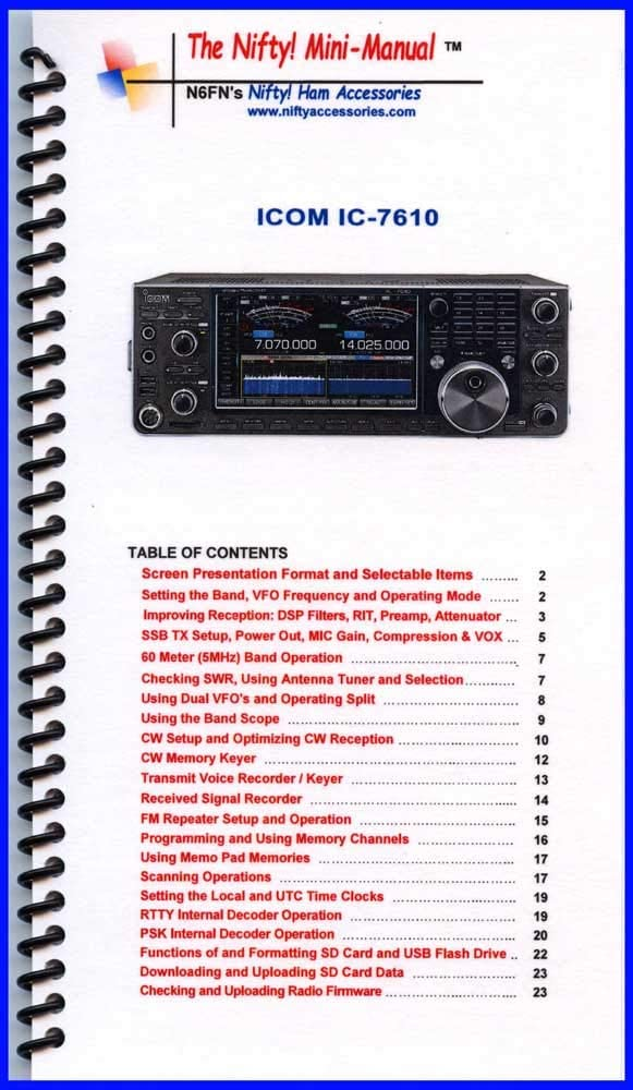 Nifty Accessories Mini-Manual for IC-7610 favorite low-pricing Icom The