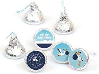 Boy Special Delivery - Blue It's A Boy Stork Baby Shower Round Candy Sticker Favors - Labels Fit Hershey's Kisses (1 Sheet of 108)