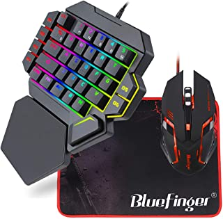 RGB One Hand Mechanical Gaming Keyboard and Backlit Mouse Combo,BlueFinger USB Wired Rainbow Letters Glow Single Hand Mech...
