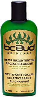 Hemp Brightening Facial Cleanser, Natural Gentle Moisturizing Facial Cleanser Cream for Dry, Combination, Oily Skin and Sensitive Skin, Cruelty Free 4oz