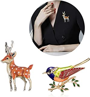 Wixine 2Pcs Colorful Animal Birds Lovely Sika Deer Enamel Crystal Rhinestone Brooch Pin Enamel Jewelry Gifts