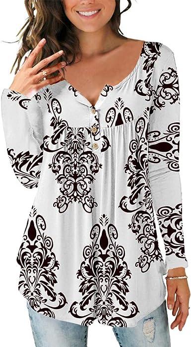Lazzon Camisas Manga Larga Mujer Blusa Casual Suelto Túnico Botones Talla Tops Grande Otoño Invierno