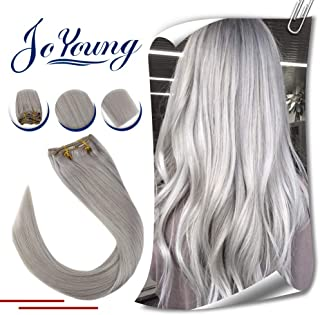JoYoung Remy Clip in Hair Extensions Grey Real Hair 7pcs Full Head Set Clip in Extensions 16inch Remy Double Weft Clip Extensions Solid Color Straight Human Hair 7pcs 120g