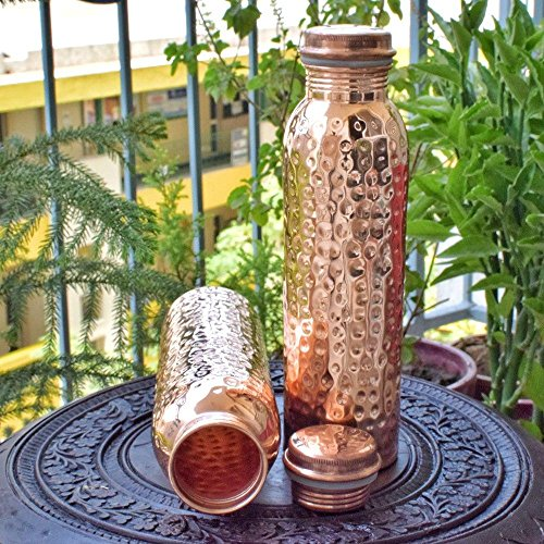 Reise-Wasserflasche aus reinem Kupfer, für ayurvedische Gesundheit, fugenfrei, auslaufsicher, gehämmert Sale for - 2 Pieces