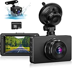 """Dash Cam Front and Rear, Dash Camera for Cars 1080P Full HD Dual Dash Cam 3"""" IPS Screen in Car Camera Front and Rear Night..."""