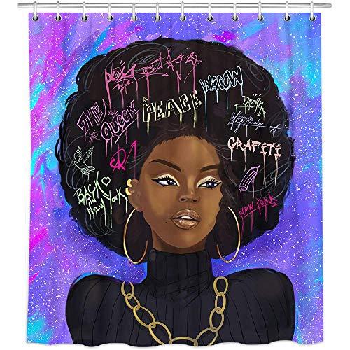 Cortinas de Ducha de niña Negra, Cortinas de Ducha de Tela Azul para Mujeres africanas en el baño, Cortinas de Ducha de baño de Galaxia Negra para Mujeres Negras Anillos Decoración para el hogar