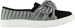 Fabric Rimini Slip On Shoes Womens Black/White Athleisure Trainers Sneakers