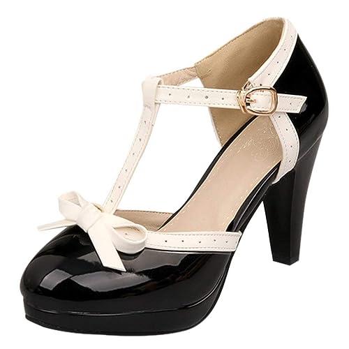 60b2fe2e0f6 Vitalo Women s High Heel Platform Pumps with Bows Vintage Patent T Bar  Court Shoes Size 2UK