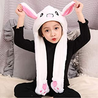 Funny Plush Rabbit Hat Cute Animal Bunny Hat Cap with Ears Pop Up for Women Girls Party Dress up Cosplay Toys Gift White