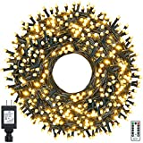 Ollny Christmas String Lights Outdoor, 800LED/330FT Waterproof Green Wire Fairy Lights Plug-in with 8 Modes&Remote Timer Warm White for Twinkle Bedroom/Indoor/Xmas/Tree/Holiday/Wedding Decorations