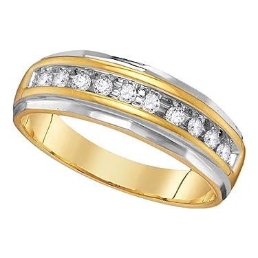 The Diamond Deal - Anillo de oro amarillo de 14 quilates para hombre, redondo, diamante de una sola fila, acanalado, 1/4 quilates