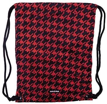 Yak Pak Carrysack Sack Red & Black Houndstooth Cinch Bag Tote