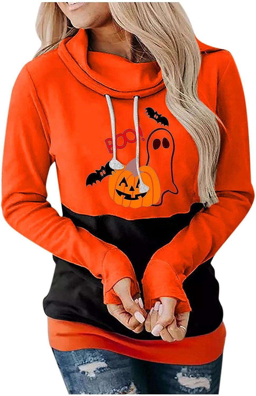 Halloween Hoodies for Women,Halloween Shirts for Women Pumpkin Skull Graphic Pullover Colorblock Trendy Hoodies