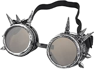 eoocvt Spiked Retro Vintage Victorian Steampunk Goggles Glasses Welding Cyber Punk Gothic Cosplay Sunglasse (Antique Silver)
