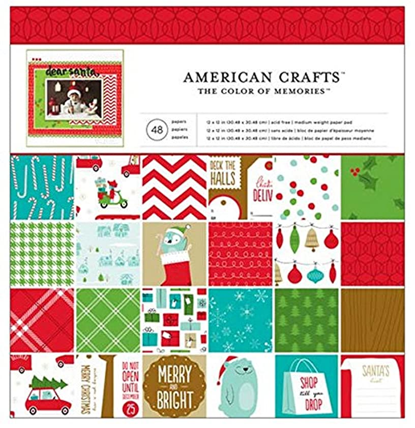 Holiday Patterned Paper Pad by American Crafts | 12 x 12-inch pad | 48 sheets of medium-weight paper in various single-sided holiday patterns