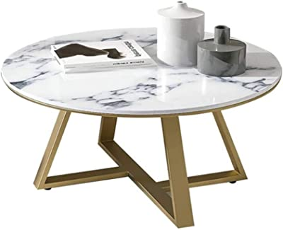 Marble Coffee Table/Side Table with Gold Metal Legs (60/70/80x45 cm, White Faux Marble)
