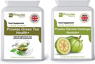 Green Tea 12480mg 90 Capsules Garcinia Cambogia 500mg 60 Capsules aE UK Manufactured to GMP Guaranteed Quality – Suitable for Vegetarians Vegans by Prowise Healthcare Estimated Price : £ 12,99