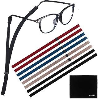 [8 قطع] حبل حزام نظارات شمسية قابل للتعديل للرياضة، توموتك البوليستر نظارات، مع قطعة قماش تنظيف من الألياف الدقيقة مجانية