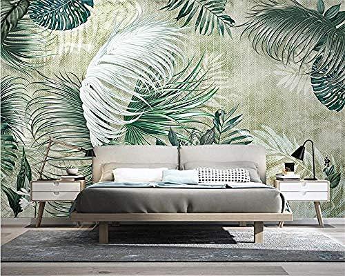 Benutzerdefinierte Tapete Europäische Vintage handgemalte tropische Pflanze Bananenblatt Wandbild TV Hintergrundwan Tapete wandpapier fototapete 3d effekt tapeten Wohnzimmer Schlafzimmer-400cm×280cm