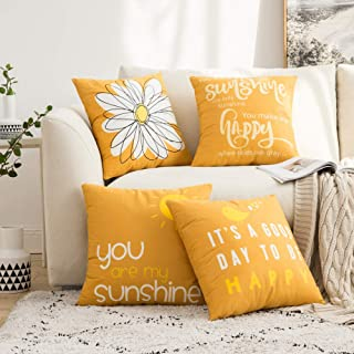 Best MIULEE Pack of 4 Fall Decorative Cute Throw Pillow Covers Cheery Quote Words Bird Sunshine Flower Cushion Case Sham Pillowcases for Couch Sofa Bed 18 x 18 Inch Orange Review