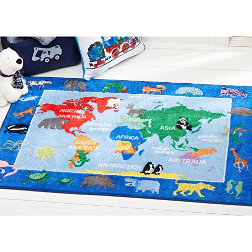 Home Dynamix Eric Carle Elementary World Map Educational Kids Area Rug 35