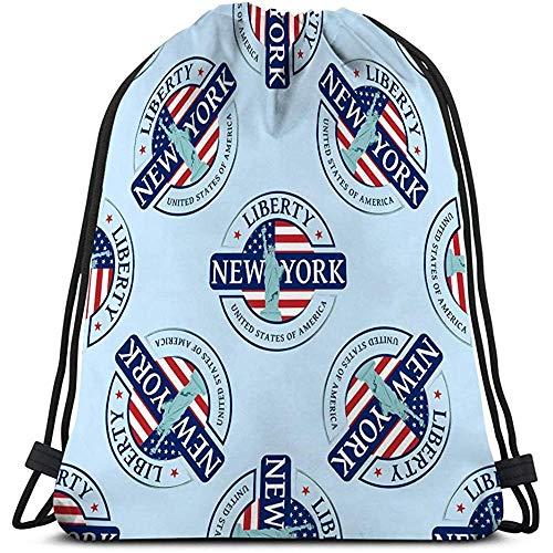 BOUIA Drawstring Bag stempel beeld New york kan worden gebruikt textiel boek website Lifelike
