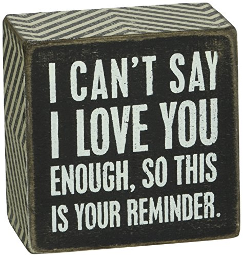 Primitives by Kathy 23238 Chevron Trimmed Box Sign, 3 x 3-Inches, I Love You