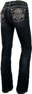 L.a. Idol Women Bootcut Jeans Crystal Fleur Flap Stretch in Dark Blue Wash
