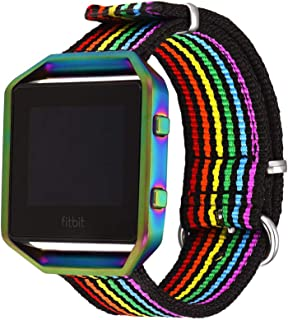 Bandmax Compatible for Rainbow Nylon Fitbit Blaze Bands, LGBT Pride Watch Band Sport Strap Accessories with Colorful Frame...