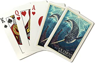 Olympia, Washington - Narwhal Letterpress (Playing Card Deck - 52 Card Poker Size with Jokers)