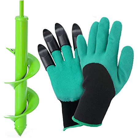 Earth Auger Bit Garden Plant Flower Bulb Auger 3 x 12 Rapid Planter with Garden Genie Gloves Auger Drill Bit Fence Post Hole Digger Drill Bit for Hex Drive Drill