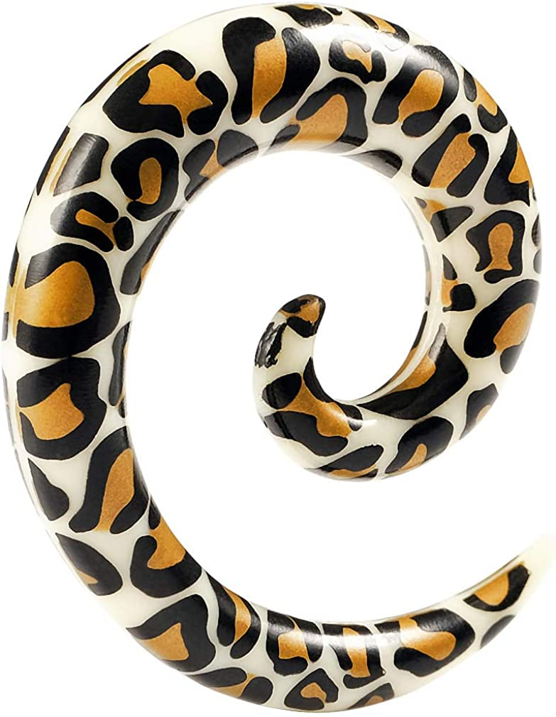 2pc Leopard Spiral Guages Ear Stretching Plugs for Ears Earrings Taper Spirals Curl Flesh Piercing Jewelry