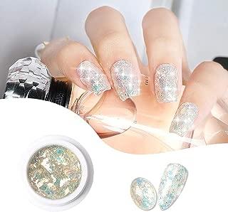 DAGEDA Holographic Glitter Nail Gel Polish, Super Shiny Mineral Color Nail Glue, Soak Off UV LED Super Platinum Nail Polish Nail Gel for Nail Art Salon(8ml, 003#)