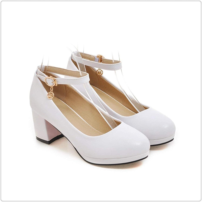 ZXCVB& Women Heels Buckle Women Black shoes Autumn Casual Thick Heel Ladies Office